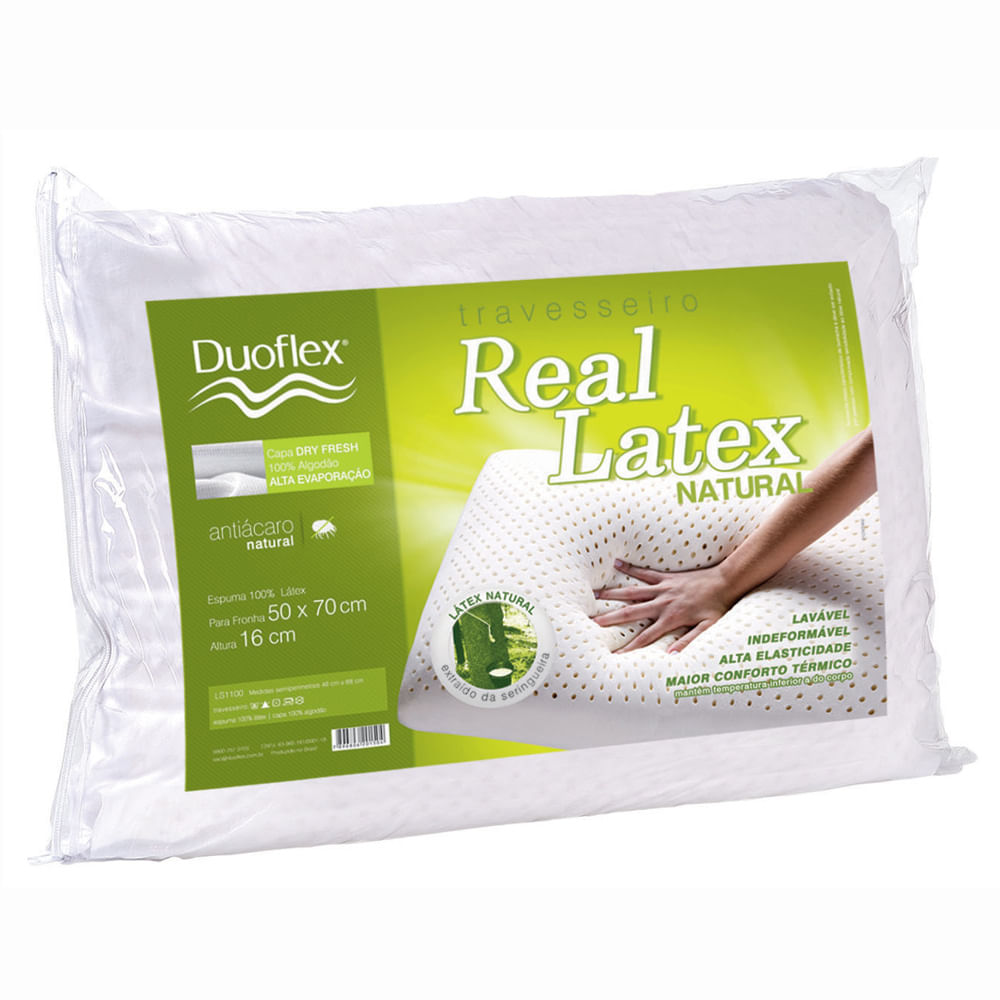 Travesseiro Real Látex Natural 50 x 70 cm LS1100 - Duoflex
